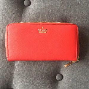 Kate spade Zip around wallet vibrant red